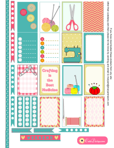 Free Printable Crafts themed Stickers for Happy Planner
