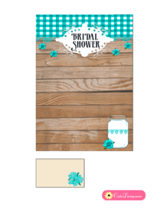 Free Printable Rustic Bridal Shower Invitation Template Blue