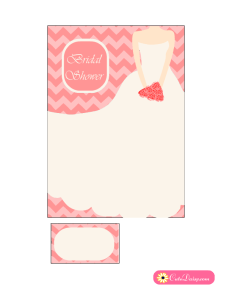 Bridal Shower Invitation featuring Chevron and Bridal Dress in Pink Color