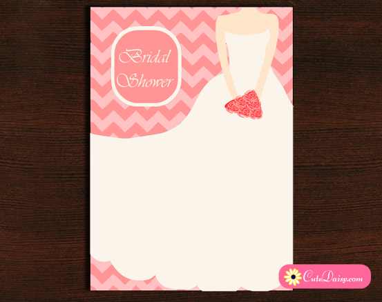 Bridal Shower Invitation featuring Chevron and Bridal Dress