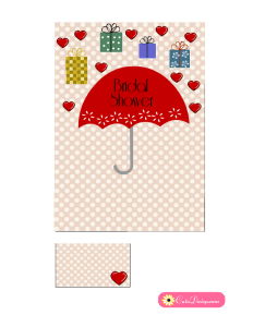 Cute Free Printable Bridal Shower Invitation in Red Color