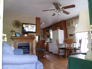the rental cabin living area.