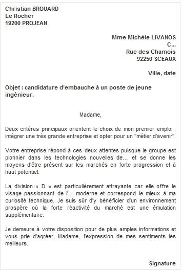 cover letter example  lettre de motivation gratuite
