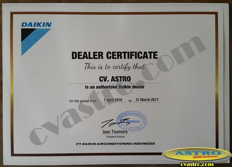 Sertifikat Dealer Daikin 2016 - 2017
