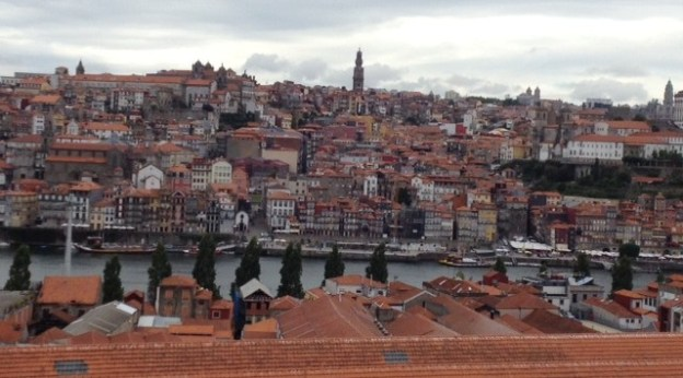 Porto from our hotel balcony. Notice the warehouses filled with port at bottom.