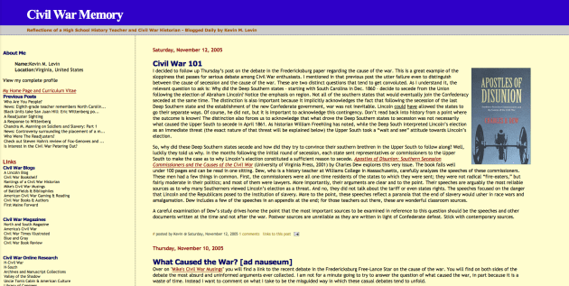 Screenshot of Civil War Memory (November 2005)