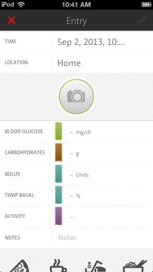 mySugr logbook blank entry