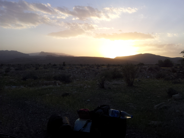 The Sun going down the night before reaching Bandar E Abbas. The best camping spot of my tour in Iran just before putting up the tent and showering.