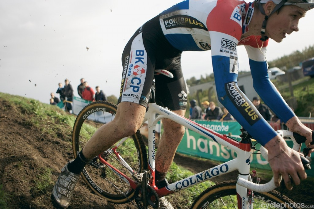 David van der Poel rides in the third lap of the U23 cyclocross Superprestige race in Ruddervorde.