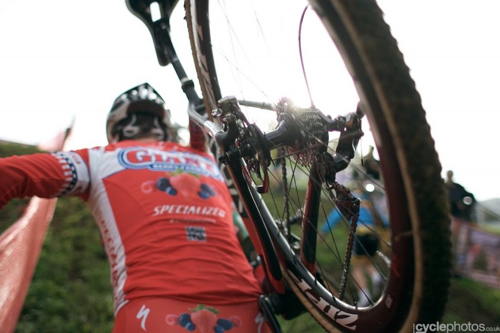 Logan Owen pre-rides the first cyclocross World Cup race in Valkenburg.