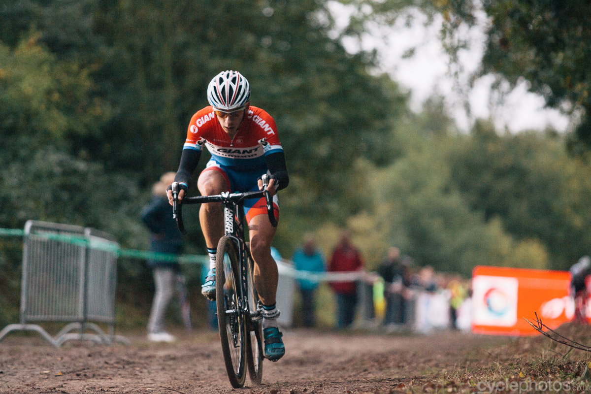 Lars van der Haar is about to start the last lap of the Superprestige cyclocross race in Gieten, in 2014. Photo by Balint Hamvas / cyclephotos.co.uk