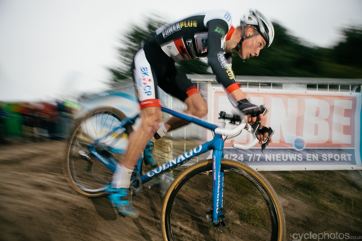 Mathieu van der Poel rides in the penultimate lap of the Superprestige cyclocross race in Gieten, in 2014. Photo by Balint Hamvas / cyclephotos.co.uk
