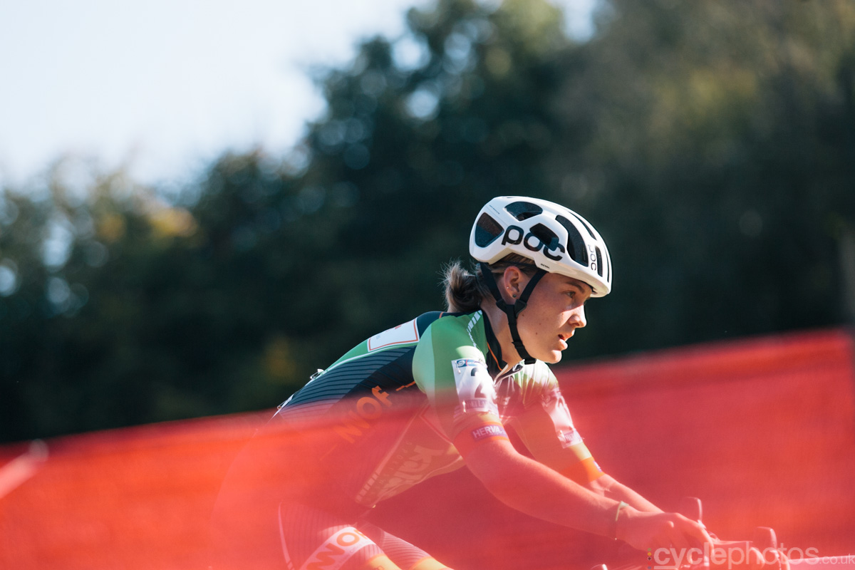 Elle Anderson rides in the third lap of of the first cyclocross World Cup race of the 2014/2015 season in Valkenburg.