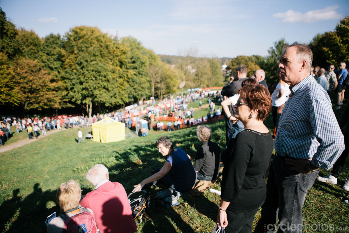 Spectators enjoy the nice weather during of the first cyclocross World Cup race of the 2014/2015 season in Valkenburg.