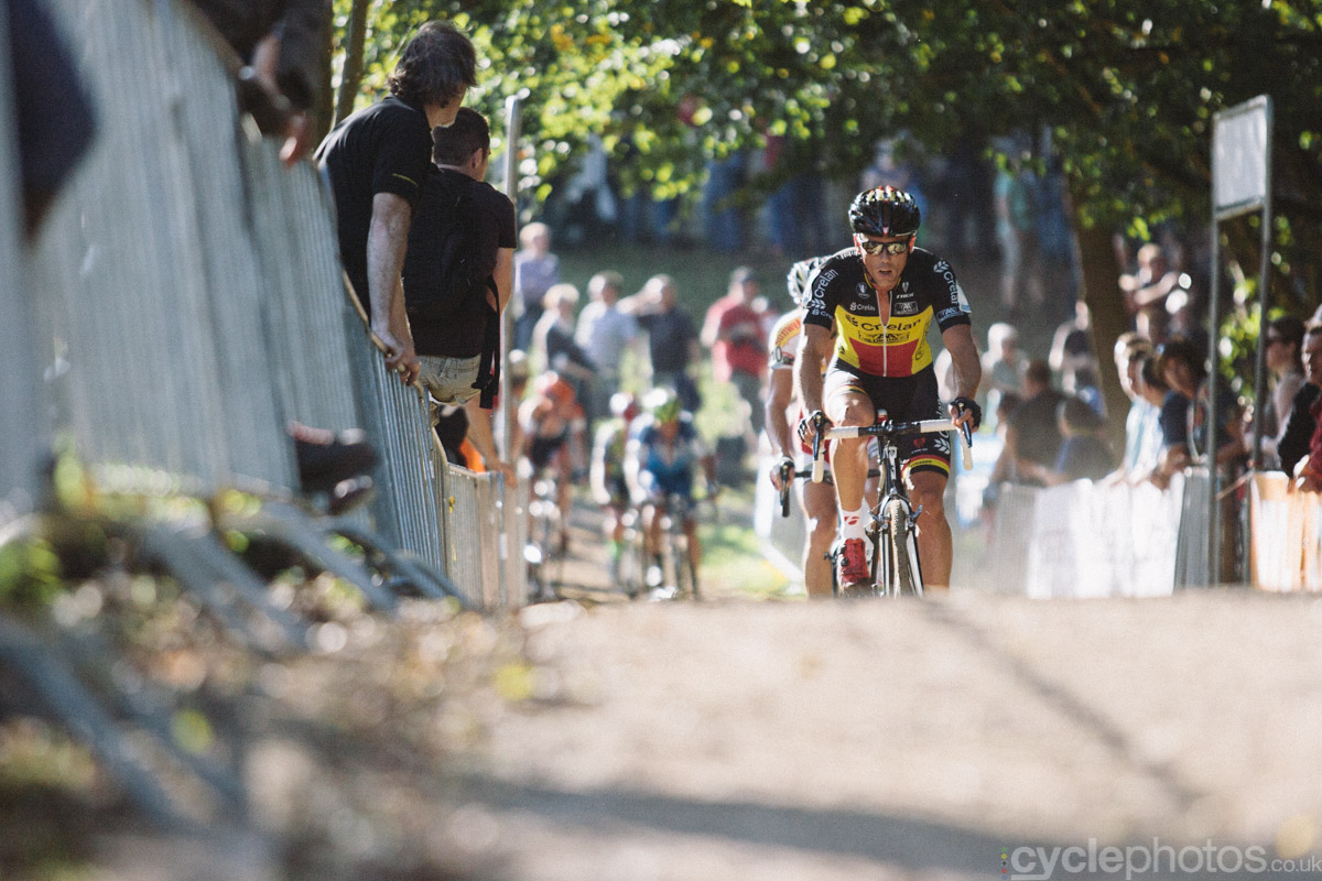 Sven Nys rides in the second lap of of the first cyclocross World Cup race of the 2014/2015 season in Valkenburg.