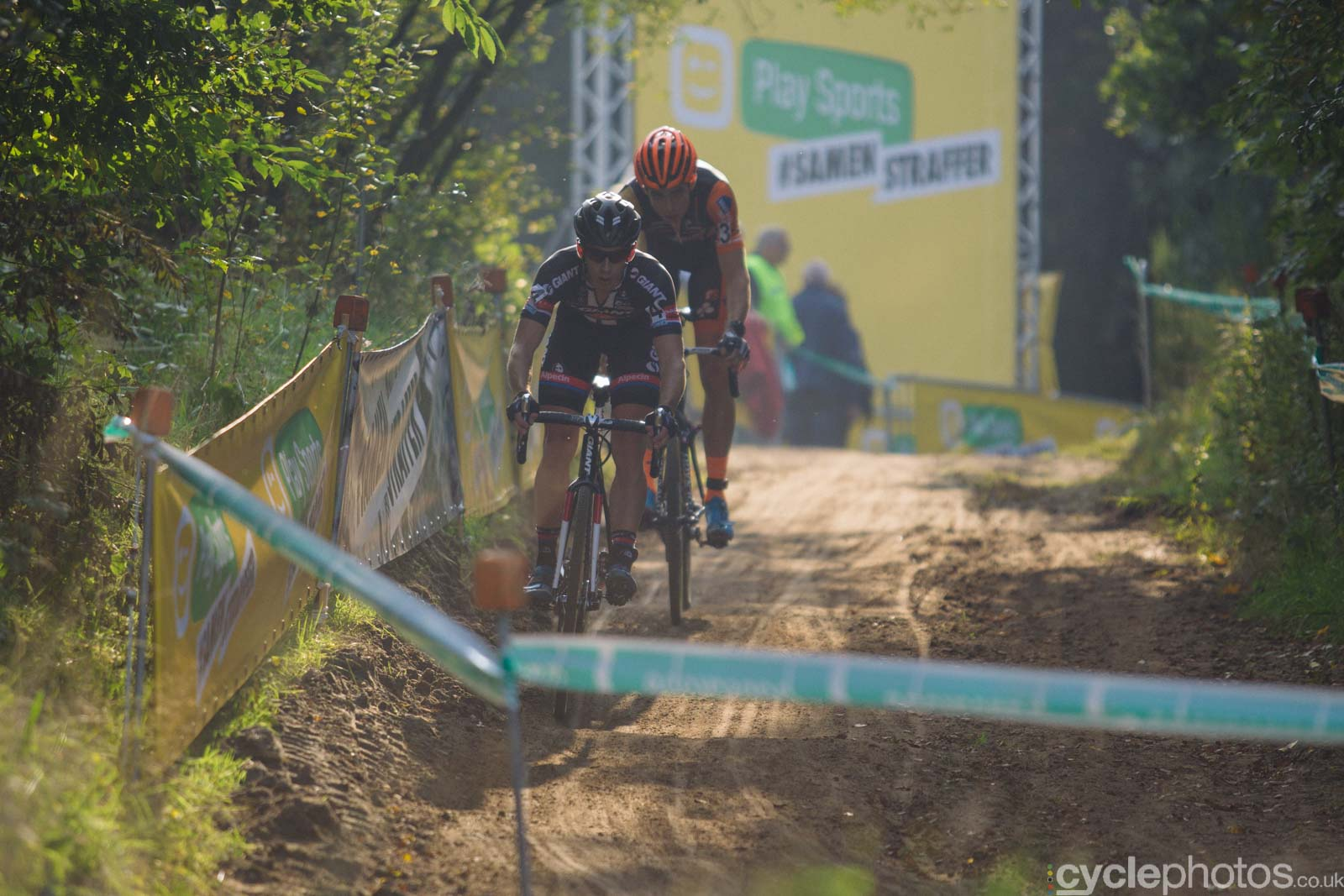 Lars van der Haar leads the race with four laps to go of the elite men's Superprestige race in Gieten, The Netherlands. All rights reserved. �Balint Hamvas / Cyclephotos