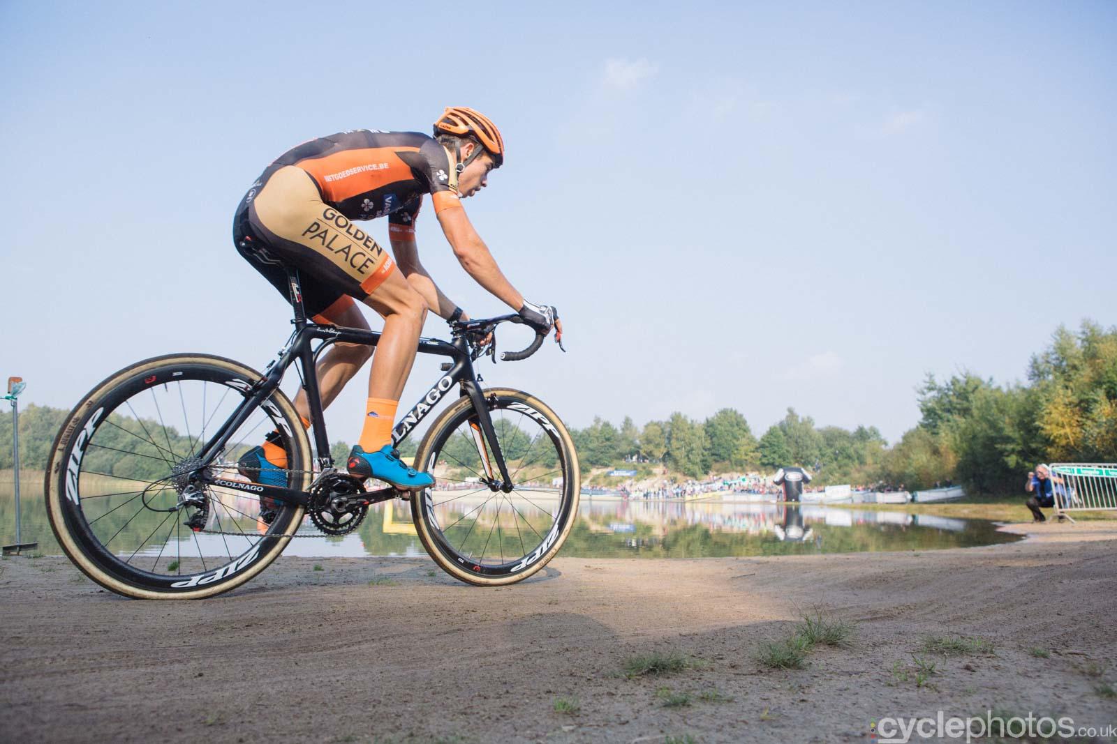 Wout Van Aert in the lead. Elite men's Superprestige race in Gieten, The Netherlands. All rights reserved. �Balint Hamvas / Cyclephotos