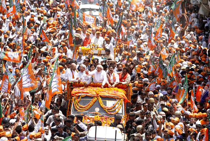 Thousands mob India's Modi as election race starts in sacred city