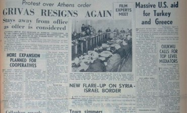 Grivas resigns again: General Grivas resigns as supreme commander of the Cyprus armed forces following disagreement with Athens over the seizure of the Turkish posts at Mari - April 21, 1967