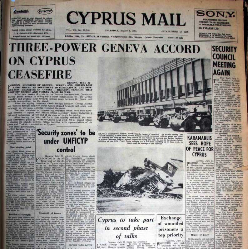 Three-power Geneva accord on Cyprus ceasefire: The first issue of the Cyprus Mail since the coup and first wave of the Turkish invasion focused on the talks between Greece, Turkey and Britain in Geneva. Photos show the damage to Nicosia airport – August 1, 1974