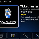 The TicketMaster application for BlackBerry from App World.