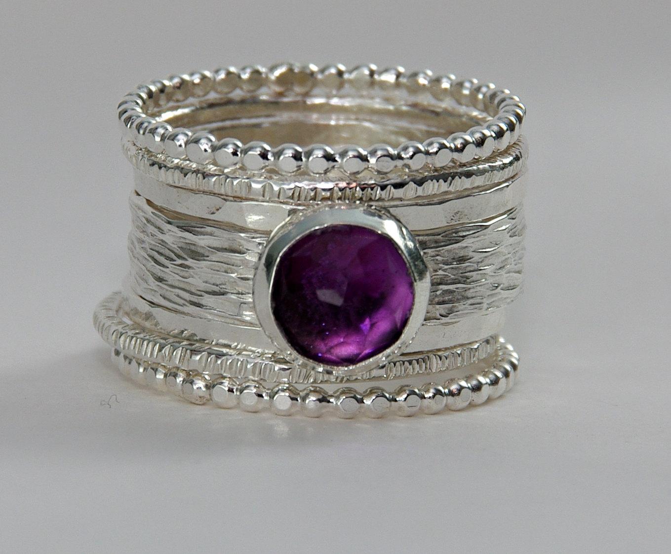 unique rose cut purple amethyst wedding ring purple wedding rings Unique Rose Cut Purple Amethyst Wedding Ring Thumbnail 1