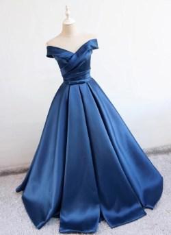 Tremendous Deep Blue V Neck Long Off Shoulder Prom Long Satin Homecoming Dresses Cheap Prom Dresses By Heartdress Deep Blue V Neck Long Off Off Shoulder Prom Dresses Pinterest Off Shoulder Prom Dresse