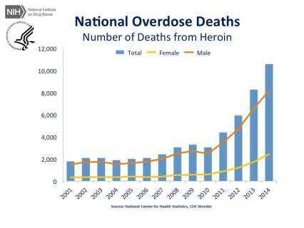 National Overdose Deaths—Number of Deaths from Heroin.