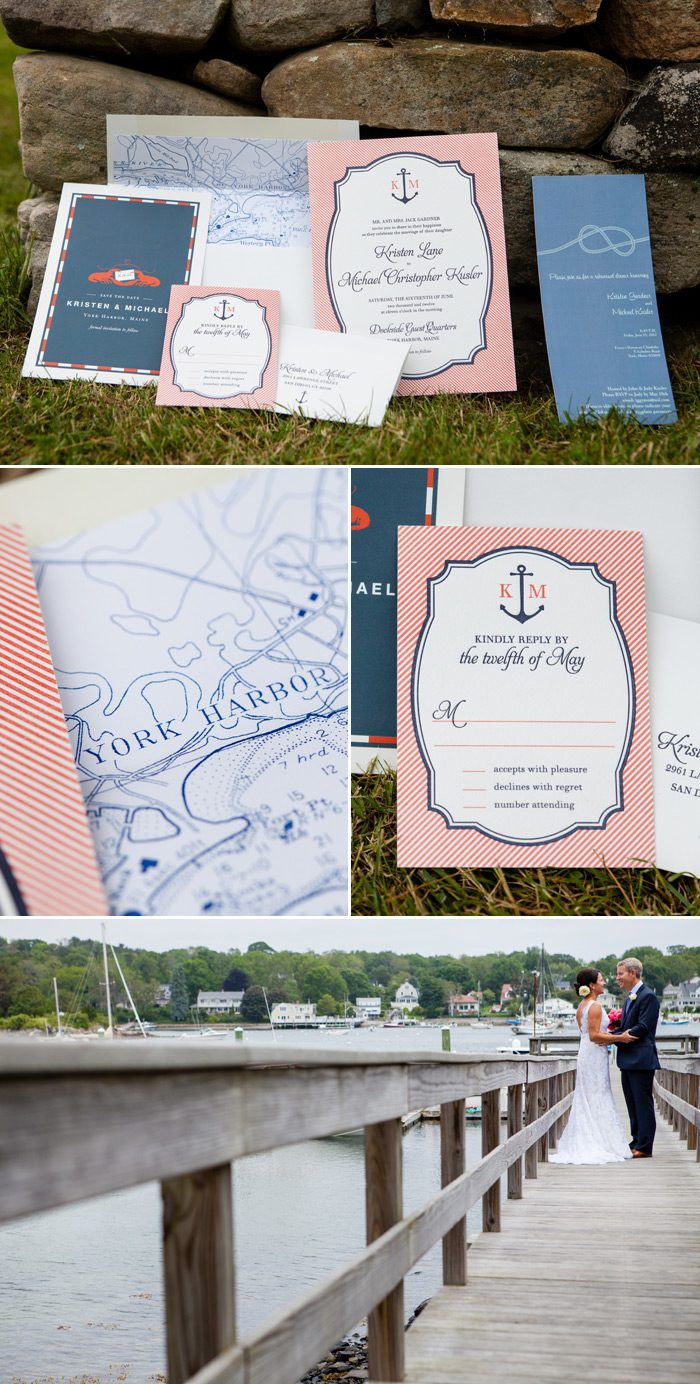 real wedding kristen michael michaels wedding invites Nautical wedding invitations for a Maine wedding in June
