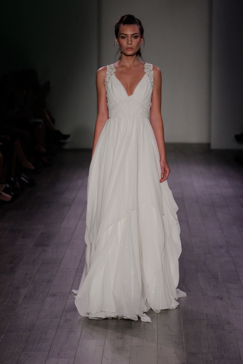 grecian wedding dress by hayley paige grecian style wedding dresses Hayley Paige woven bodice Grecian wedding dress with crystal straps