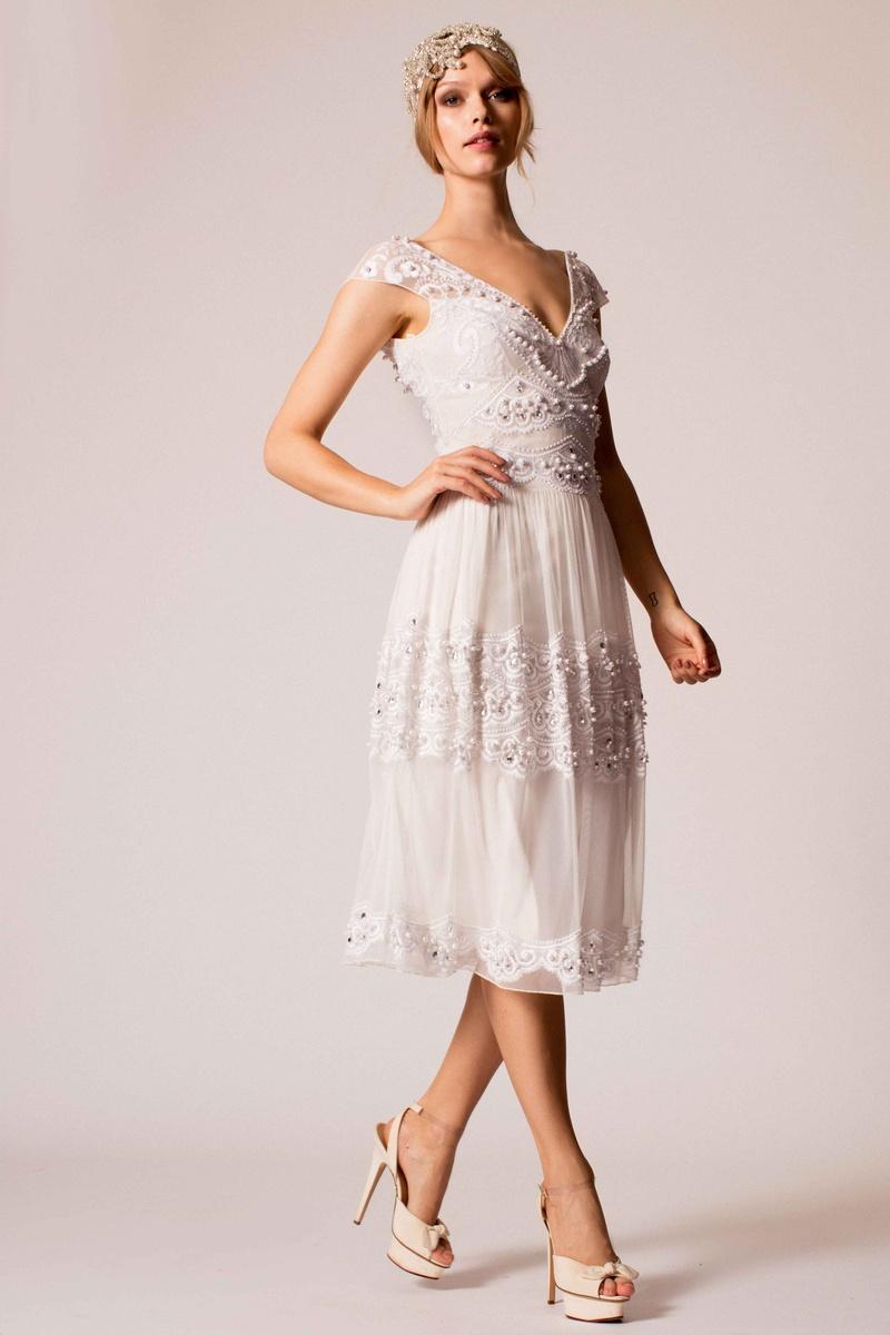 midi wedding dress Temperley Bridal s inspired beaded midi length wedding dress