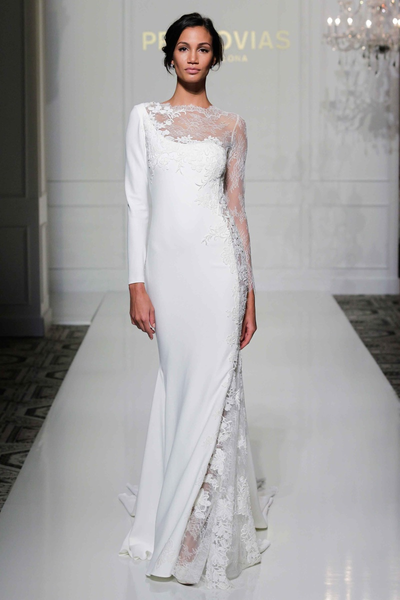 sheer wedding dresses Pronovias asymmetrical long sleeve wedding dress with sheer lace neckline and sleeve