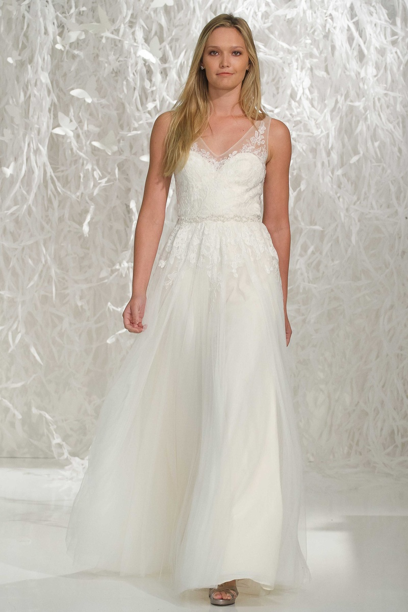 wedding dresses ivory Willowby by Watters ivory wedding dress with illusion lace straps