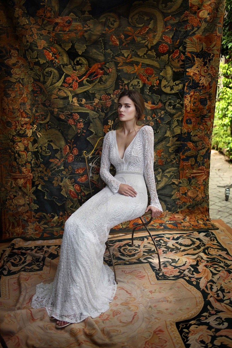 sleeved wedding dress Lihi Hod long sleeve wedding dress with deep v neck