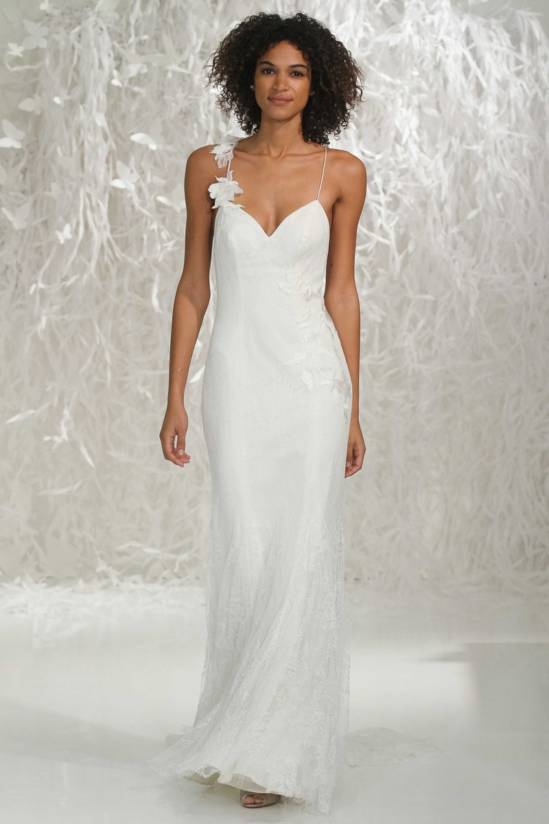 spaghetti strap wedding dress Willowby by Watters spaghetti strap wedding dress with flower applique and fabric flowers