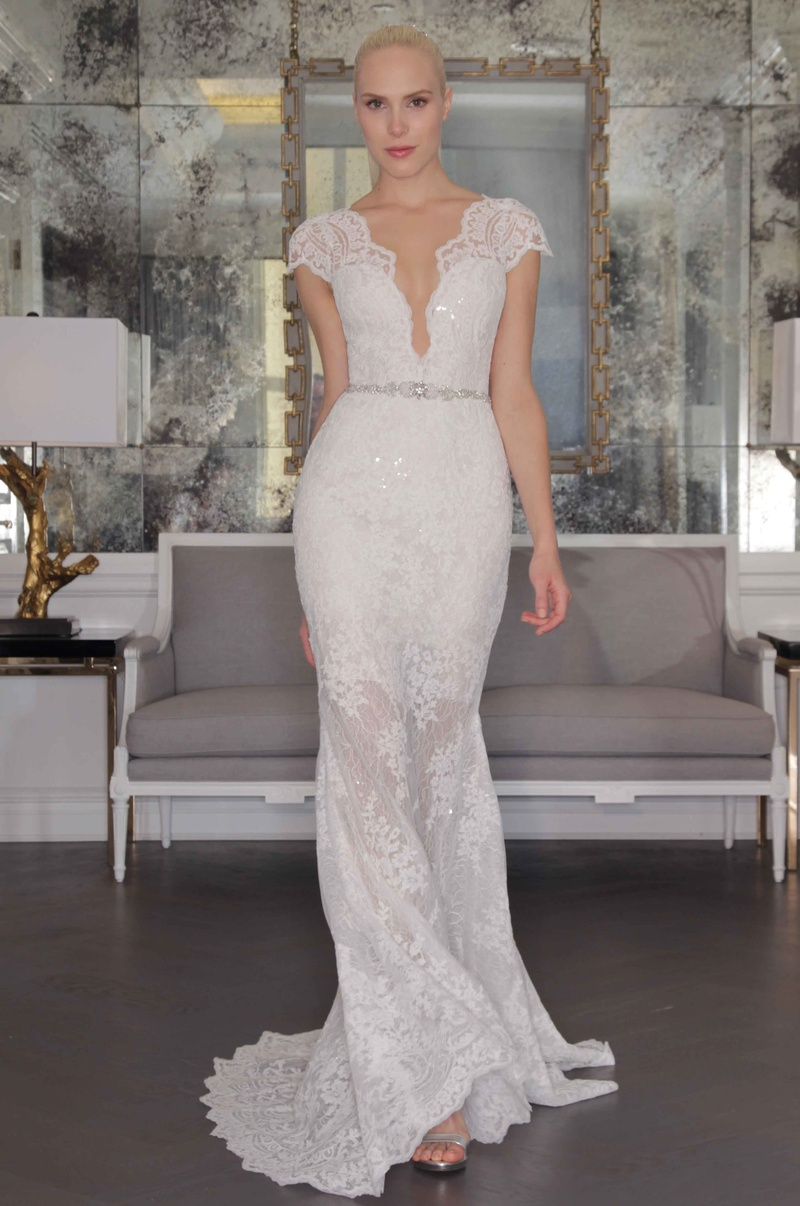 grecian style wedding dresses Romona Keveza Luxe Bridal Fall lace wedding dress with cap sleeves