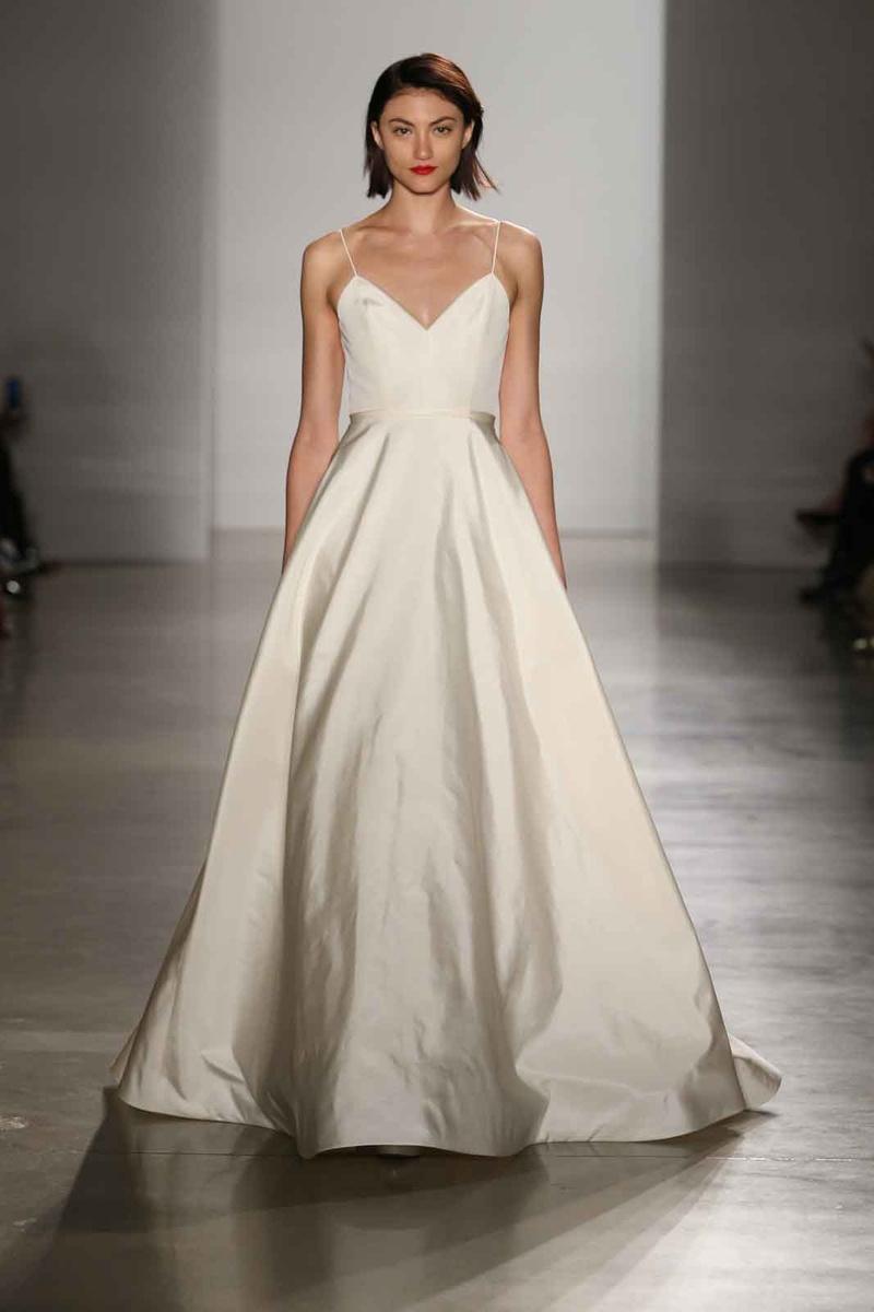 spaghetti strap wedding dress Amsale Fall A line wedding dress with spaghetti straps
