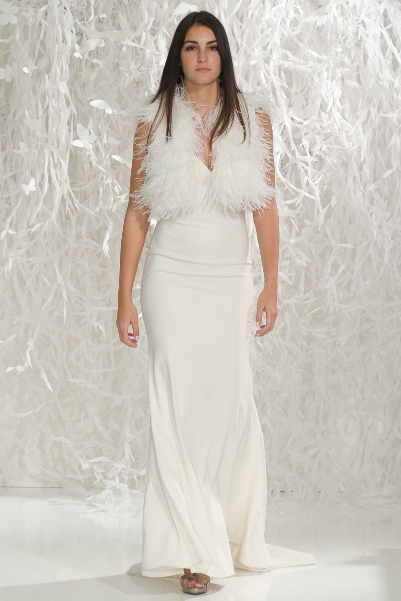 spaghetti strap wedding dress Willowby by Watters spaghetti strap wedding dress with ostrich feather vest