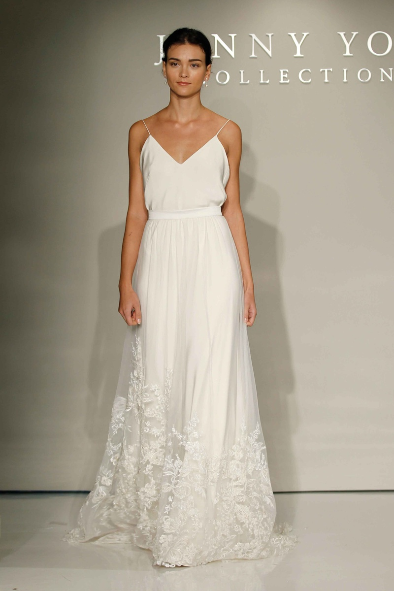 wedding dress skirt Jenny Yoo Bridal spaghetti strap wedding dress with flower embroidered skirt