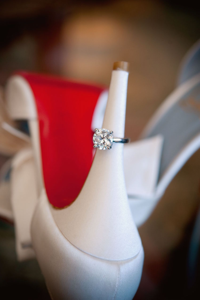 wedding rings real diamonds Round diamond engagement ring on Christian Louboutin shoe