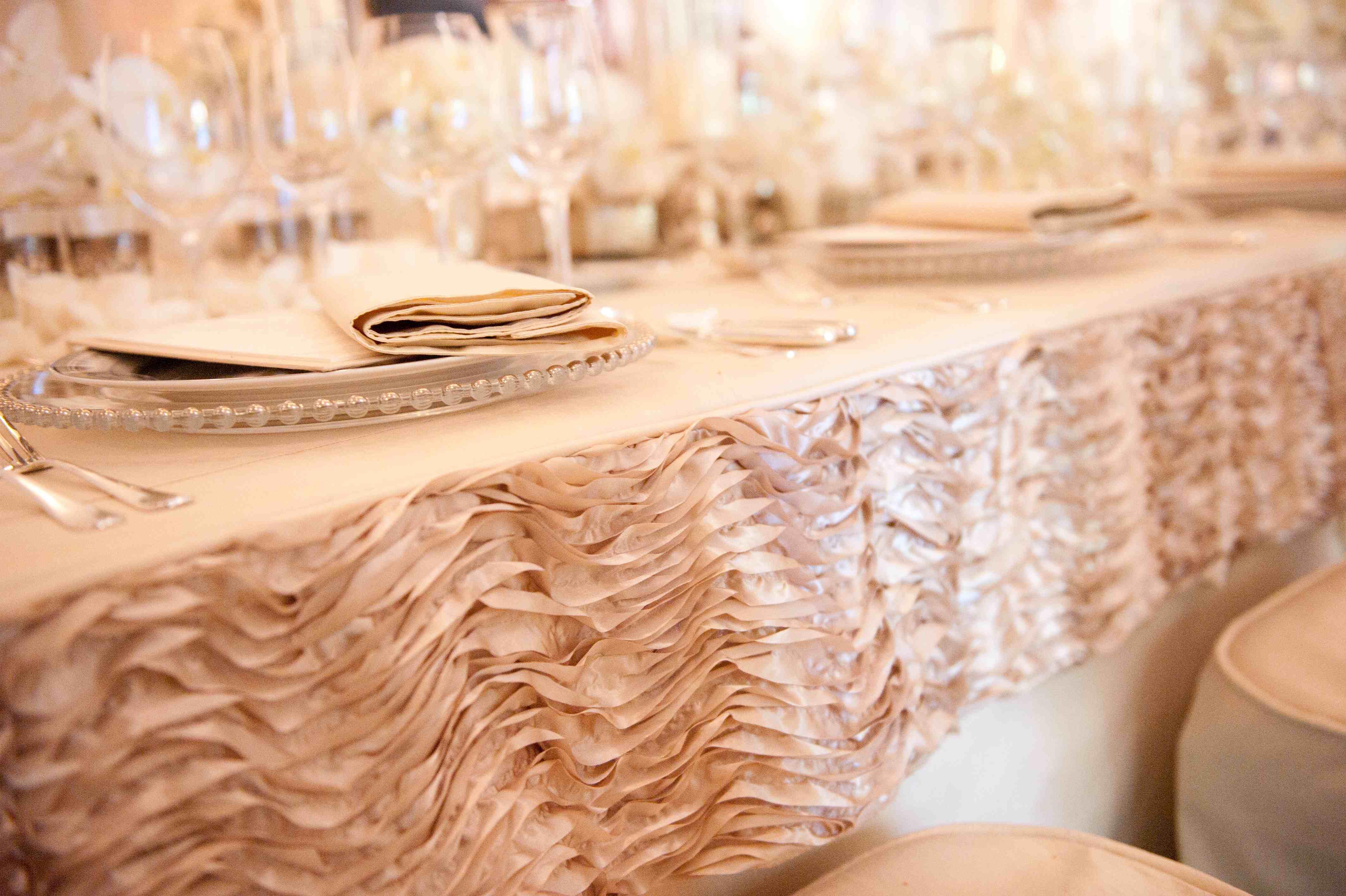 wedding linens Light pink ruffle linen edges at wedding reception