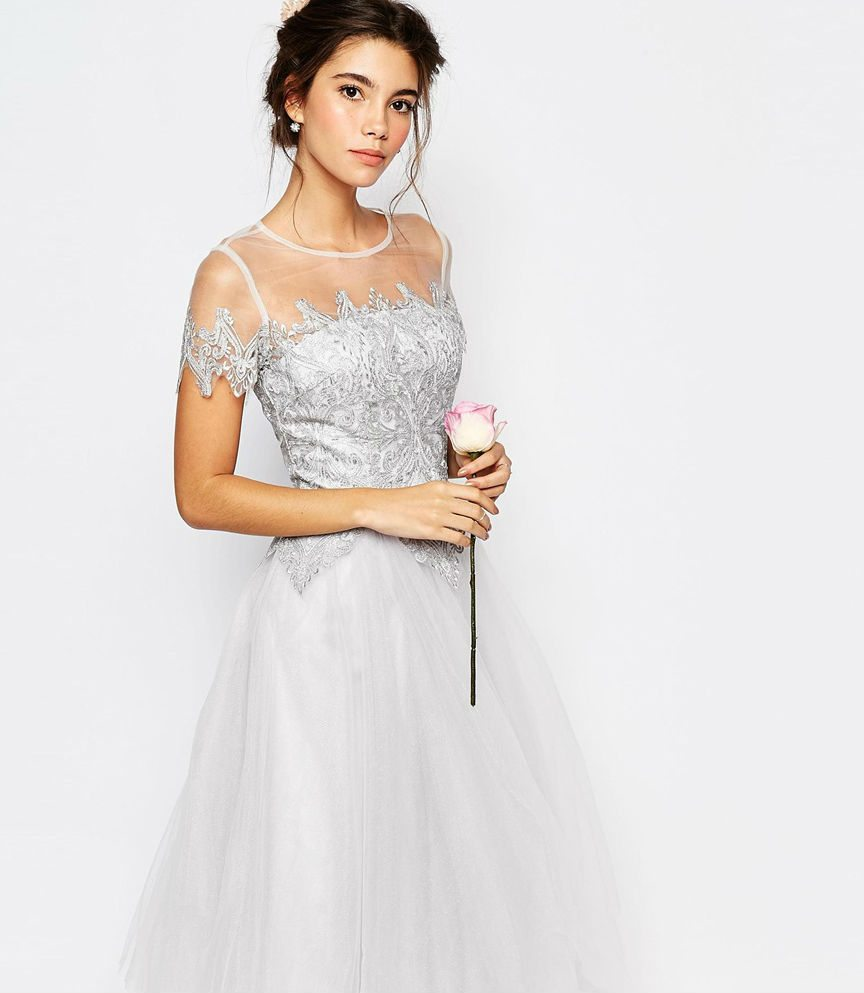 beautiful in white 8 wedding perfect items from asos midi wedding dress Chi Chi London Tulle Lace Midi Dress