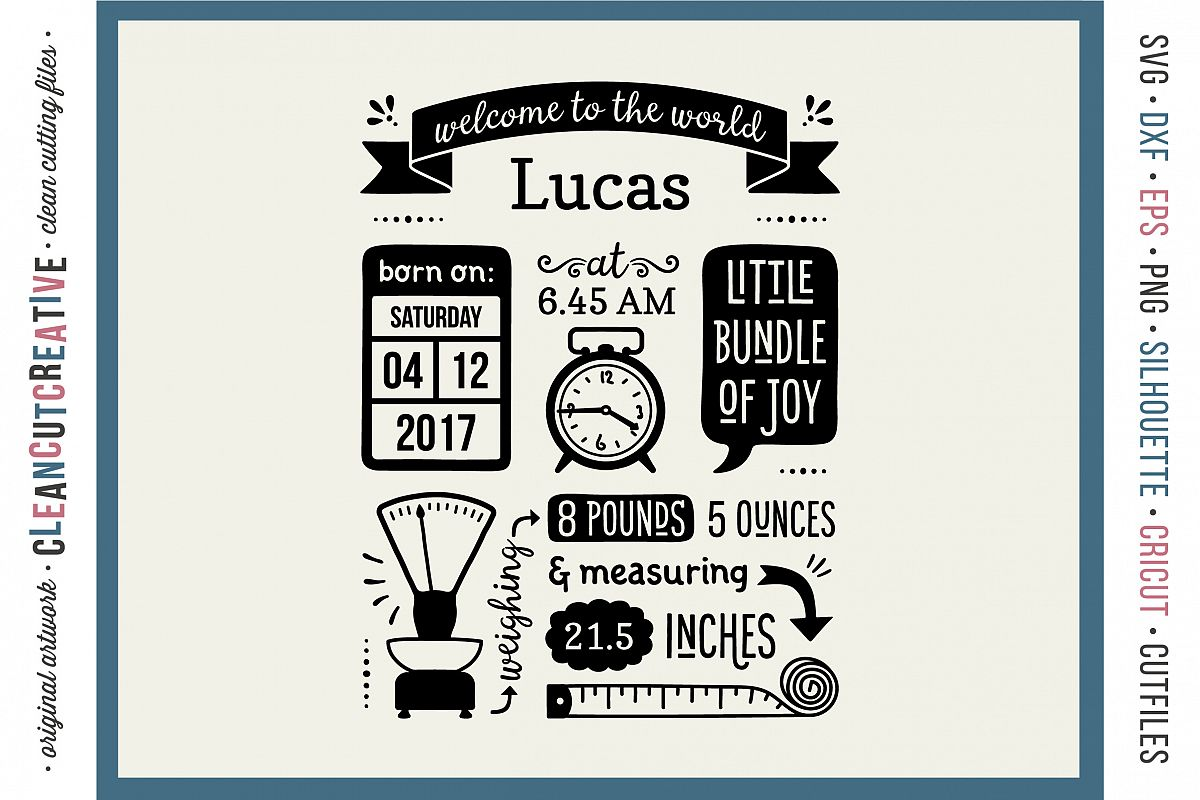 Pretty Birth Stats Template Baby Birth Announcement Svg Dxf Eps Png Cricut Birth Stats Template Baby Birth Annou Design Bundles Birth Announcement Templates Photographers Birth Announcement Template A photos Birth Announcement Template