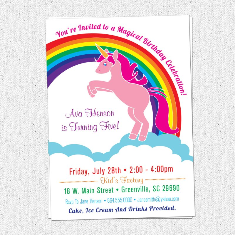 Large Of Unicorn Birthday Invitations