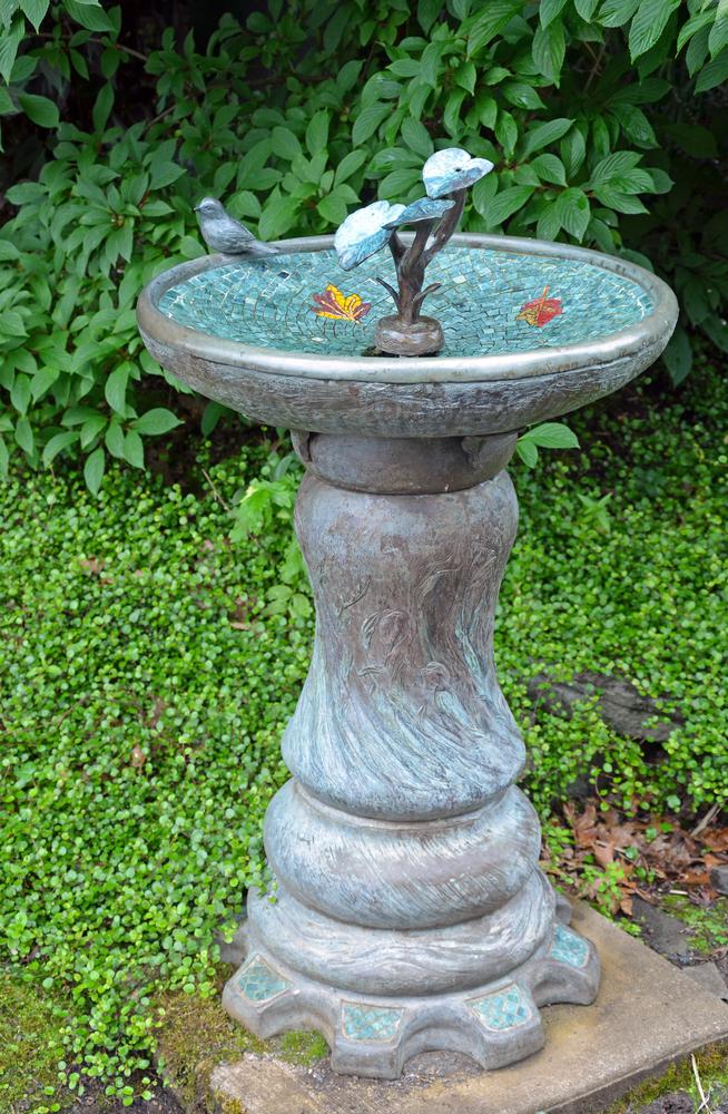 Decorative garden birdbath