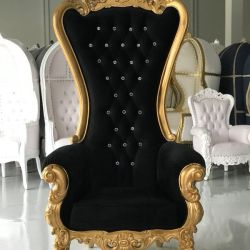 Free Nationwide Delivery Gold Leaf Black Velvet Throne Chairs