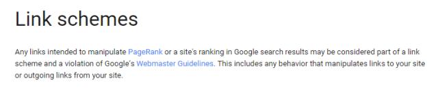Google Webmaster Guidelines for Link Scheme