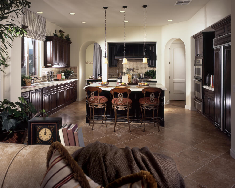 eat in custom kitchen designs custom kitchen countertops Luxury dark brown kitchen with white counter tops The center of the kitchen is a