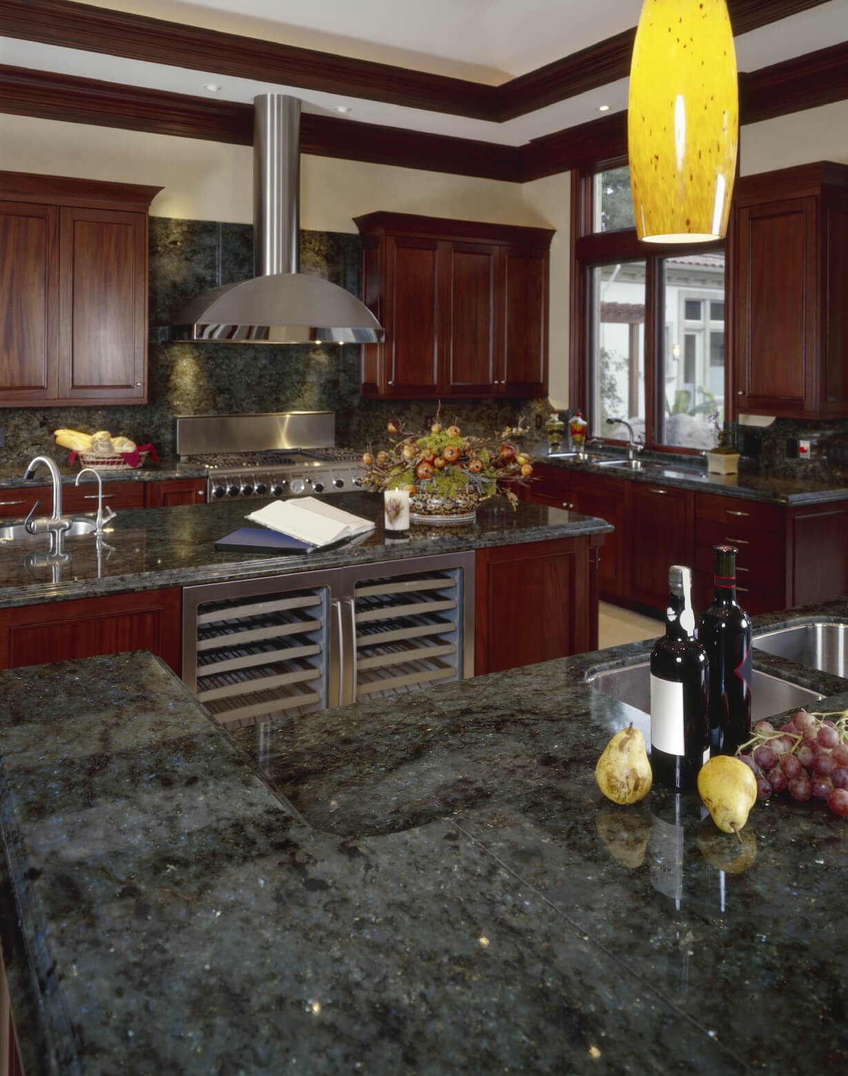 40 magnificent kitchen designs with dark cabinets green kitchen countertops Rich dark green marble countertops and dark cherry wood fill this luxurious kitchen featuring brushed aluminum