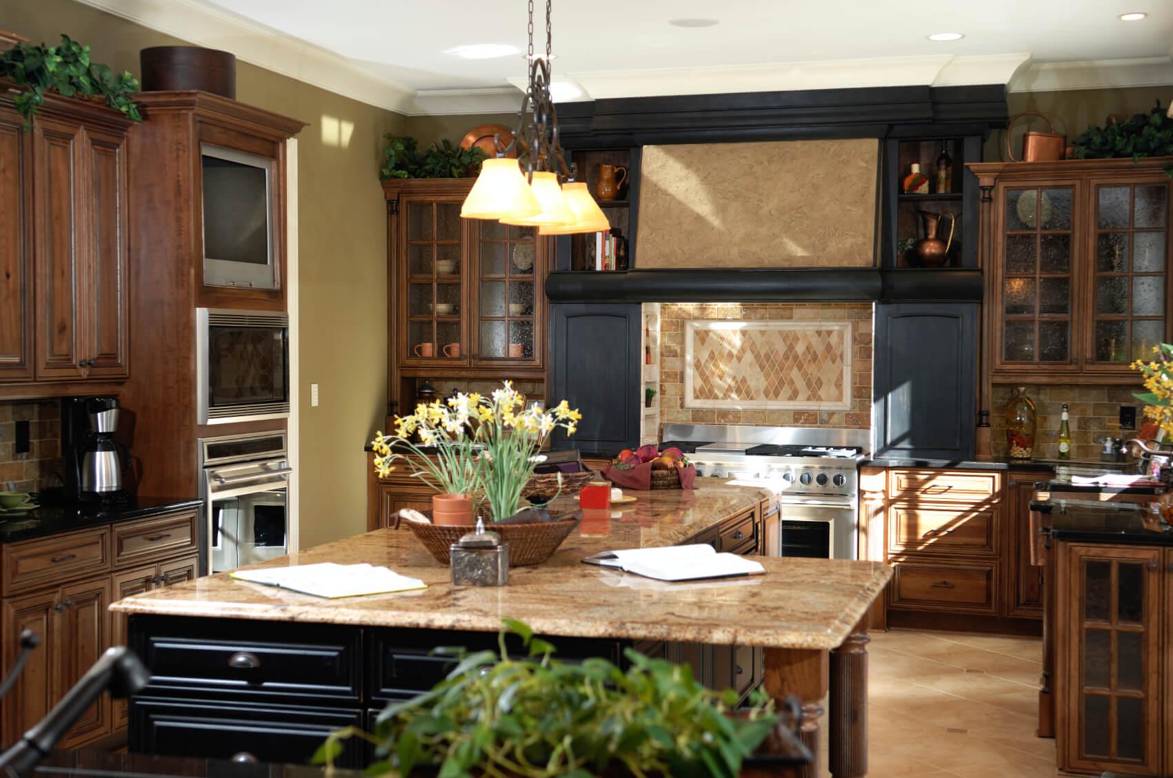 40 magnificent kitchen designs with dark cabinets cherry wood cabinets kitchen Black wood cabinetry surrounds range with beige tile backsplash in this detailed kitchen L